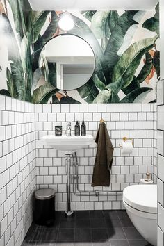 Botany Banana Wallpaper in the bathroom! Gorgeous shot by st.- Botany Banana Wallpaper in the bathroom! Gorgeous shot by Botany Banana Wallpaper in the bathroom! Gorgeous shot by -