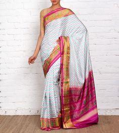 Off White Pure Silk Patola Saree