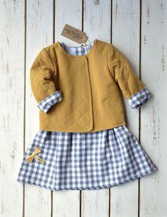 Pikowana bluza z podszewką w łączkę / musztardowa - Rose-Lilly - Ubranka dla dzieci