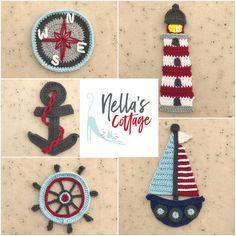 Ravelry: Nautical Collection pattern by Jen Mitchell - Nella's Cottage Crochet Boat, Nautical Crochet, Free Crochet, Learn Crochet, Mini Amigurumi, Motifs D'appliques, Knitting Patterns, Crochet Patterns, Gift Maker
