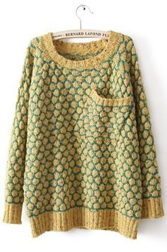 Yellow Long Sleeve Pineapple Pattern Pocket Sweater...i wish it was cold enough to wear this, but everyone keeps the indoors too hot!
