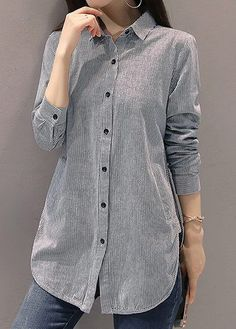 Long Sleeve Stripe Print Button Up Grey Shirt Corporate Wear, Winter Mode Outfits, Winter Fashion Outfits, Grey Long Sleeve Shirt, Grey Shirt, Trendy Tops For Women, Blouses For Women, Blouse Vintage, Blouse Styles
