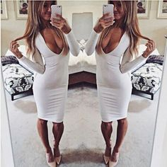 SLIM Women Bandage Bodycon Long Sleeve Evening Sexy Party Cocktail Pencil Dress