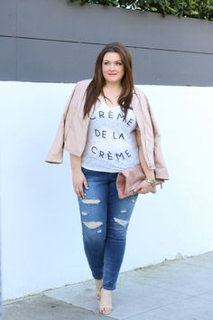 trendy curvy jeans slink tart collections faux leather jacket pale pink lovely in la top plus size blogger