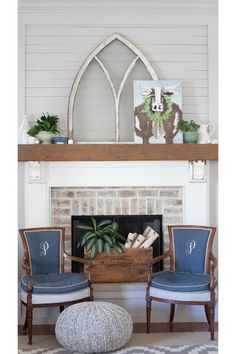 Soft French Gray Fireplace | Sherwin Williams. Christmas Cow from artist Ruthie Carlson on Etsy.