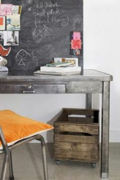 Original Vintage French Utilitarian Desk by Ines Cole