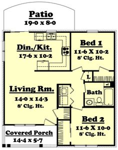 I like thelayout but not the outside of the house. This spacious two bedroom one bath house plan is great for everyday living or for that hunting or fishing camp you have always wanted. This house plan has all the amenities to support any type of living. The Plan, How To Plan, Plan Plan, Small House Plans, House Floor Plans, Two Bedroom House, Bedroom Small, Traditional House Plans, Traditional Design