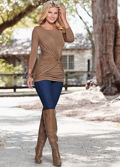 TWISTED KNOT TOP, SLIMMING STRETCH JEGGING, DETAIL OVER THE KNEE BOOT
