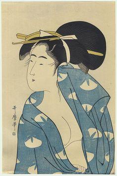 Autumn Moon after the Bath by Utamaro (1750 - 1806)