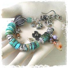 Turquoise bracelet - Rustic bohemian charm bracelet - Statement bracelet - Chunky bracelet - Lucky elephant charm - Gift for her by rocksandpaperswans