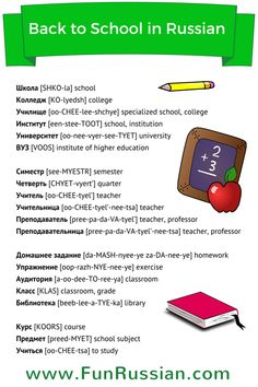 Back to School words in Russian. Learn much more - http://www.funrussian.com/2015/08/24/back-to-school-in-russian/