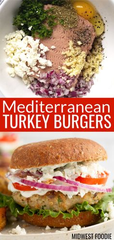 Easy Greek Turkey Burgers - - These Greek burgers are loaded with classic Mediterranean flavors of parsley, garlic and feta and topped with a delicious, creamy, homemade yogurt sauce. Greek Burger, Greek Turkey Burgers, Turkey Burger Recipes, Chicken Recipes, Homemade Turkey Burgers, Healthy Turkey Burgers, Beef Burgers, Hamburger Recipes, Veggie Burgers