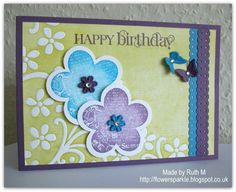 Flower Sparkle: Flower & Butterfly Duo Happy Birthday Card - Simply Stampin' Challenge #57