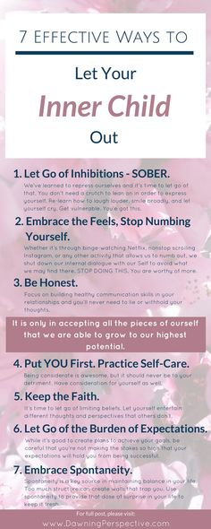 While we grow older we dont need to grow out of what makes us happy and complete. Here are 7 ways you can learn to re-accept the more vulnerable parts of your being with honesty and love. Its time to let your inner child out. Mental And Emotional Health, Emotional Healing, Self Healing, Inner Child Healing, Self Compassion, Self Awareness, Coping Skills, Kids Health, Self Development