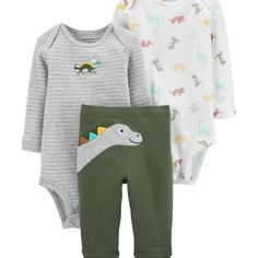 Carter/'s 3 pc Boys Penguin Footed Sleeper Bodysuit and Pants Size Newborn or 3 M