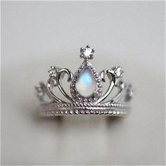 Fantastic Vintage Princess Crown Moonstone Promise Ring for Women