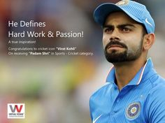 """""""He is an icon for the people of the entire country."""" An Idol for many. Truly a LIVING LEGEND!! CONGRATULATIONS MR. VIRAT KOHLI !! For being decorated with`honor of """"Padma Shri"""" award..!! :)"""
