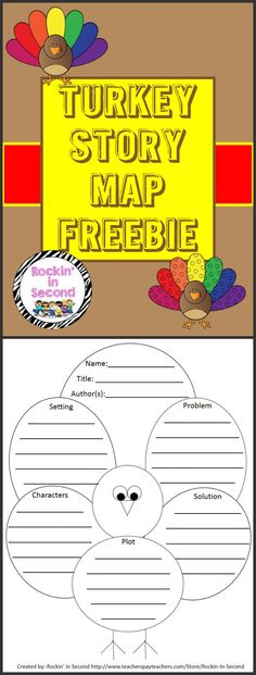 Turkey Story Map FREEBIE  Perfect for the Fall season. You can use this as a book report outline or for your weekly stories.  Follow me on TPT for more fun and exciting activities and FREEBIES. Don't forget to leave feedback for credits for future purchases! =)