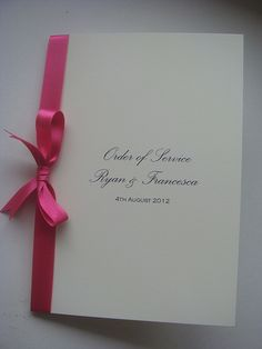 Wedding Order of Service plain and simple but with different colour ribbon