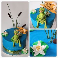 "Tarta "" La Rana Gustavo"", Kermit Cake with water lilly and reed by Atelier Pastry Fork, Mallorca"