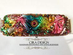 Shibori bead embroidery bracelet