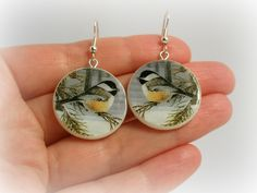 Round Bird Earrings - Polymer Clay