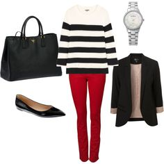 Negative on the shoes and blazer but love pants, sweater, bag