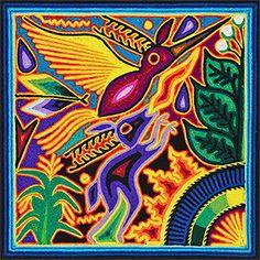 Huichol yarn painting by artist Felix Bautista Ramos.