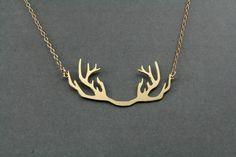 golden antler pendant necklace deer by BonnyRabbitBoutique on Etsy