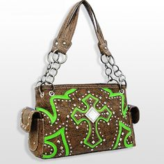 Green Rhinestone Cross Western Purse