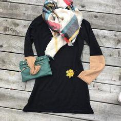 Cashmere Arm Party Tunic/dress ( black/camel)