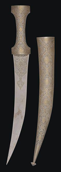 A GOLD-DAMASCENED STEEL DAGGER (KHANJAR) QAJAR IRAN, 19TH CENTURY