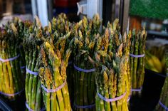TIP OF THE DAY! ---- It's asparagus season again, and it's really tempting to buy bunches of them! Here's a good way to keep the stalks crisp for a week:  Hold the bunch together with a rubber band, then cut off the bottom. Place them in a jar filled with small amount of water and cover it loosely with a plastic bag before storing it in the refrigerator. Remember to change the water once it gets cloudy. #Asparagus #Tip #DIY #Vegetables #Healthy