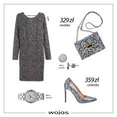 Srebrna sukienka przed kolano to doskonały wybór na sylwestrowe szaleństwo! Idealnym dopełnieniem  kreacji będą czółenka Wojas z tłoczeniem imitującym skórę węża (6351-66) oraz mała torebka (6851-66). Nie może też zabraknąć modnej biżuterii!