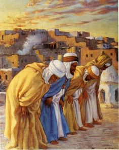 The Monotheistic Prayer - Étienne Dinet Arabian Art, Anime Muslim, Islamic Paintings, Historical Art, Environment Concept Art, Egyptian Art, North Africa, Ancient Art, Islamic Art