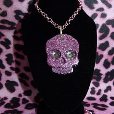 Baby Pink Glitter Skull Necklace.