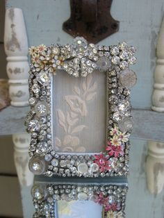 Vintage Jewelry Picture Frame                    ~~embellished with vintage rhinestones, buttons