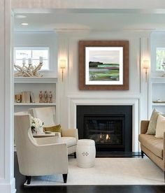 Lastest Home Design. Getting Bored With Your Home? Use These Interior Planning Ideas. Many people want to update their homes, but are unsure of where to start. There are many simple ways to learn about decorating your space. Fireplace Built Ins, Fireplace Shelves, Fireplace Surrounds, Fireplace Design, Farmhouse Fireplace, Simple Fireplace, Black Fireplace Surround, Fireplace Between Windows, Brick Fireplace