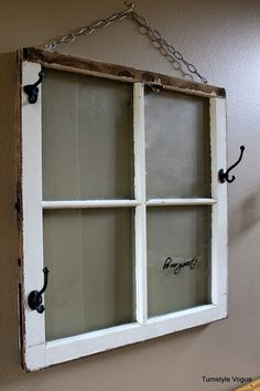 DIY:: Free Salvaged Window To Charming Rustic Entryway Greeting Rack for your guests ! With a place to hang their Purse, Hat, Umbrellas, Coat, Wrap etc. Old Wood Windows, Windows And Doors, Windows Decor, Reclaimed Windows, Recycled Windows, Rustic Entryway, Rustic Decor, Country Decor, Vintage Decor