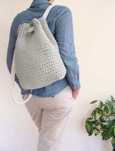 Crochet Bags, Hand Crochet, Crochet Hooks, Knit Crochet, Cotton Rope, Cotton Bag, Basic Crochet Stitches, Crochet Patterns, Crochet Backpack Pattern