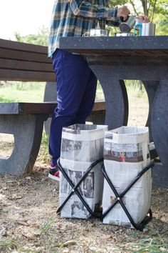 Camping Table - Thinking About Going On A Camping Trip? Camping Table, Diy Camping, Camping Life, Camping Hacks, Outdoor Camping, Survival Life Hacks, Newspaper Crafts, Camping Activities, Camping Essentials