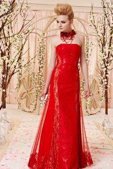 Robe de soirée bustier rouge à séquins