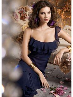 A-line Spaghetti Straps Floor Length Navy Blue Chiffon Long Bridesmaid / Prom / Formal / Evening Dresses