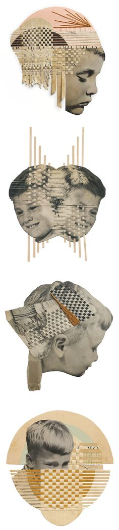 curated contemporary art /// holliechastain collage (and woven paper?) by hollie chastain Collages, Collage Art, Collage Illustration, Paper Weaving, Origami, Textiles, Collaborative Art, Portraits, Texture Art