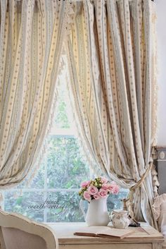 FRENCH COUNTRY COTTAGE: New drapes... with a twist Beautiful!!!