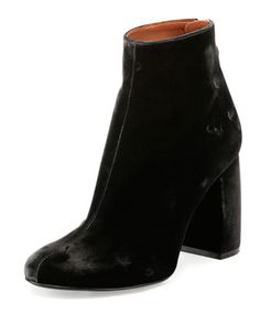 Velvet Curved-Heel Ankle Bootie, Charcoal by Stella McCartney at Neiman Marcus.