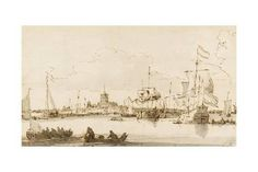 A View of Vlaardingen with Shipping in the Foreground (Pen and Ink with Wash on Paper) Giclee Print by Ludolf Backhuysen at Art.com