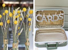 Tying in buttonholes with decor. Simple suitcase card box
