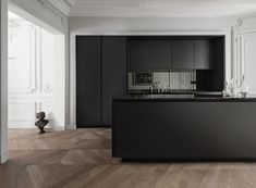 OMG - wall mouldings, Matte black kitchen with smoked mirror splashback Interior Design Kitchen, Modern Interior Design, Interior Architecture, Modern Classic Interior, Black Kitchens, Cool Kitchens, Kitchen Black, Kitchen Wood, Kitchen Island