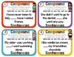 Compound Sentences Task Cards by Rock Paper Scissors   TpT